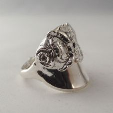 Stunning Unusual Handmade Chunky Antique Rose Bud Solid Silver Spoon Ring